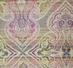 Boisdale Wool Fabric A wool paisley style damask fabric in purples, cerise, sage and beige