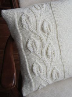Climbing leaf hand knit aran style 20x20 pillow by LadyshipDesigns, $55.00  Such a beautiful pattern.