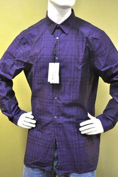 Burberry London MensPurple Check Cotton Casual Dress Shirt Sz XL #BurberryLondon #Dressshirt