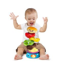 Whirling, spinning and spilling fun, with stacking rings for your little one to build their very own burger!