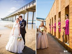 Bride and groom and bridesmaids portraits at scripps seaside forum #weddingphotography / see more at www.truephotographyweddings.com