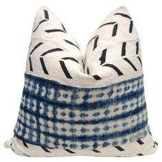 Check out this item at One Kings Lane! African TribalNatural & Blue Pillow