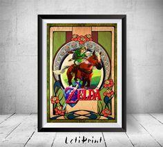 The Legend of Zelda Zelda Print Zelda Poster Zelda by LetiPrint