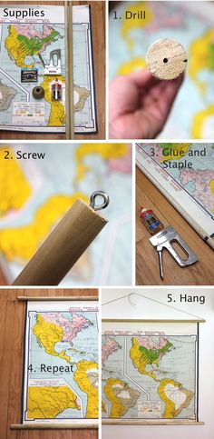 DIY hanging map (aka: the instructions I will use when we purchase a projector after throwing out our enormous TV)!