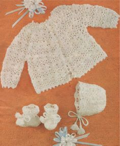 Baby Matinee Coat, Bonnet and Bootees PDF Crochet Pattern : Babies Boy or Girl 20 inch chest . Jacket . Booties . Instant Digital Download by PDFKnittingCrochet on Etsy