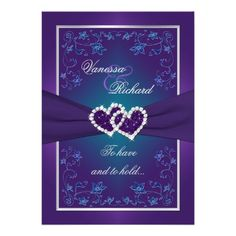Purple Teal Floral Hearts FAUX Foil Wedding Invite  This romantic and dramatic deep purple, teal green and silver gray floral wedding invitation has a PRINTED RIBBON, a pair of PRINTED diamond and glitter joined jewel hearts and metallic look teal blue and iridescent lilac purple flowers on it.