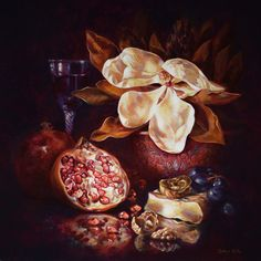 Gatya Kelly Magnolia Luciana 61x61cm oil on linen 2016. Still life painting magnolia flower pomegranate camembert brie cheese grapes walnuts red wine glass dry leaves reflections