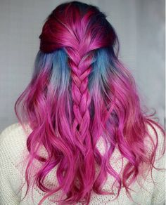 Pulp Riot hair color - pink and blue grey roots