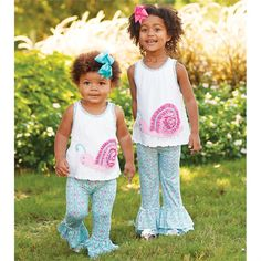 2-piece set. Cotton interlock petal back top features printed bamboo-blend trim with snap placket, lettuce edge stitching and dimensional snail applique. Comes with printed bamboo-blend pants with ruffle cuffs.