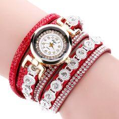 Women Wristwatch - Crystal Round Dial Dress Gold Ladies Leather Watch