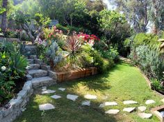 Lush & fragrent, the yard tiers up the hillside filled w/ flowers & fruit trees- AirBnB- $270 per night