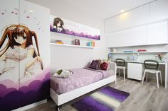 Awesome-Anime-Themed-Cool-Rooms-For-Girls-Showing-Beautiful-Cartoon-Girl-on-White-Purple-Wardrobe-and-Shelf.jpg (640×426)