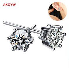 Classic six-claw earrings Luxury AAA Zircon Women 2017 Hot fashion jewelry silver earrings High temperament princess 6MM