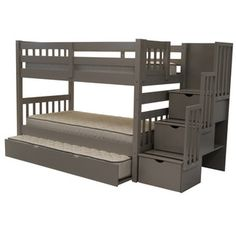 Found it at Wayfair - Bedz King Twin Over Twin Bunk Bed with Trundle - Finish: Grey