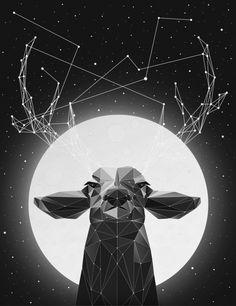 The Banyan Deer art illustration print reindeer deer black and white stars animal cool