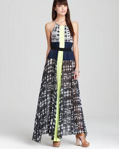 BCBGMAXAZRIA Dress - Printed Color Block Maxi   Bloomingdale's