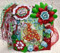 Twag Kristi Christmas Santa Paper Bag Premade Scrapbook Album Stitched   eBay