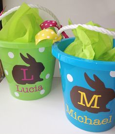 Personalized Polka Dot Chocolate Bunny EASTER BUCKETS