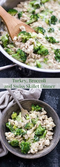 Skillet dinners to the rescue on nights when you're busy or not in the mood to cook! You'll love the ease and classic flavor combination of this Turkey, Broccoli and Swiss Skillet Dinner!