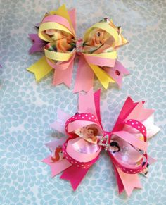 Tinkerbell Birthday Bow or Disney Princess Birthday Bow. By OurLilBowtique, $6.00