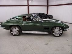 I am not much on corvettes but this one is exactly what I would want 66-67 427 4sp, Goodwood green with white rally stripe and rally wheels.