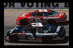 The Earnhardts, father and son, side by side.