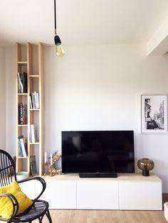 Living Room Partition Design, Room Partition Designs, Living Room Tv Unit Designs, Interior Design Living Room, Living Room Goals, My Living Room, Home And Living, Living Room Decor, Modern Tv Room