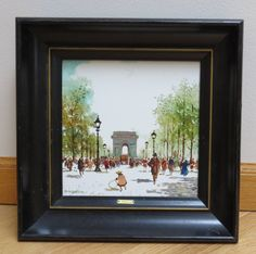 Vintage Painting A Street In Paris by M. by PrairieVintageFinds