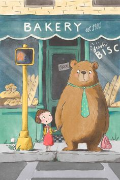 Bear & girl waiting at crosswalk - Illustration by Alexandra Thompson