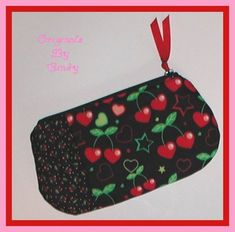 3b437b6e1f28 Cherry Hearts Cosmetic Bag Cherries Makeup Pouch Pink Red Black