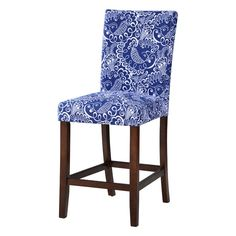 "The Loredo 24"" Bar Stool from Starfish Furnishings offers you counter-height comfortable seating with streamlined personality. Blue and white abstract floral print upholstery brilliantly accentuates the tapered dark stain hardwood legs and convenient footrests. This set's seating is plush, accommodating and the craftsmanship is impeccably strong. A must for your kitchen, den or home bar."