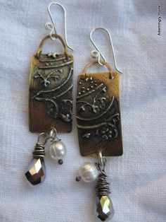 Boho Industrial Earrings of Hand Forged and Etched by AdorninglyYours (Stamped solder??)