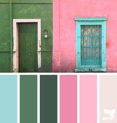 A Door Hues (design seeds) Colour Schemes, Color Combos, Colour Palettes, Color Palette Challenge, Pallet Painting, Color Palate, Design Seeds, Color Stories, Color Theory
