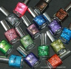 Shots of the NEW Pure Ice Nail Polish shades! Some gorgeous glitters! http://stephanielouiseatb.blogspot.com/2012/11/new-pure-ice-nail-polish-bottle-shots.html