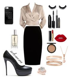 """""""work"""" by solonora ❤ liked on Polyvore featuring Yves Saint Laurent, Jupe By Jackie, Bobbi Brown Cosmetics, Elizabeth Arden, Chanel, Lime Crime, Topshop, Van Cleef & Arpels, Lana Jewelry and LE VIAN"""