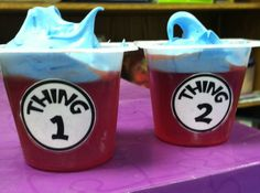 Thing 1 & Thing 2 snacks. Cat in the Hat jello with cool whip.