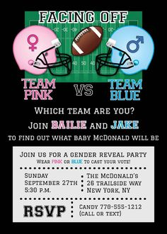 Football Baby Shower Invitation • Gender Reveal Baby Shower Ideas by AnnounceItFavors