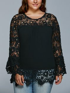 Lace Splicing Hollow Out Plus Size Blouse