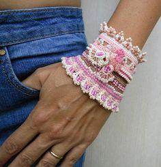 Custom order Crochet Cuff Bracelet Pale Pink-Beige Bracelet