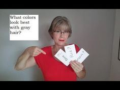 Learn the best colors to wear if you have grey hair. This quick video has terrific information and 17 top suggestions you will love to try. Colors That Compliment Grey, Colours That Go With Grey, Grey Hair Modern, Grey White Hair, Grey Hair And Makeup, Grey Hair Care, Grey Hair Video, Grey Hair Over 50, Grey Hair Styles For Women