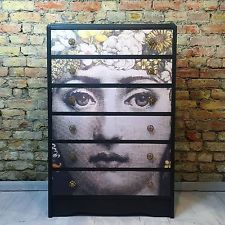 Upcycled Vintage Retro Chest Of Drawers Decoupaged Fornasetti Style