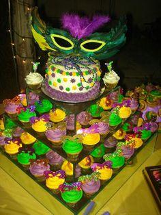 Mardi Gras cake and cupcakes!