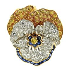 Oscar Heyman Diamond Yellow Sapphire Platinum Gold Pansy Brooch For Sale at Gemstone Brooch, Diamond Brooch, Sapphire Diamond, Blue Sapphire, Blue Topaz, Antique Jewelry, Silver Jewelry, Vintage Jewelry, Gold Jewellery