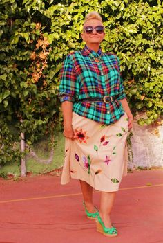 Hand Embroidered Skirt & Silk Tartan/ Plaid Shirt | MIS PAPELICOS