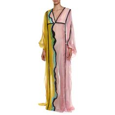 Emilio Pucci Long-Sleeve Colorblock Swim Caftan Coverup ($2,760) ❤ liked on Polyvore featuring swimwear, cover-ups, kaftan beach cover up, cover up swimwear, caftan cover up, chiffon cover up and chiffon beach cover up