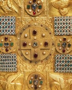 Goldsmith's art, Italy, 11th-12th century. Peace of Chiavenna (Pace di Chiavenna) cover of a Gospel Book or liturgical object (osculum pacis) in embossed gold, gems and enamel miniatures. Detail: cross.  - stock photo