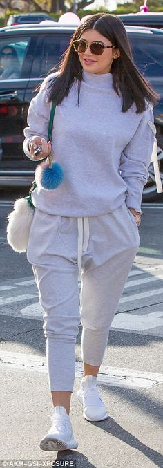 Crepe game on fleek: The teenager teamed the cosy tracksuit with a pair of chic white runn...