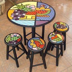 Conjunto mesa mosaico