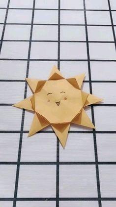 Easy Origami Sun Doll Tutorial DIY Paper Crafts - cooking tips Paper Crafts Origami, Diy Origami, Paper Crafts For Kids, Origami Tutorial, Diy Arts And Crafts, Creative Crafts, Diy Crafts, Simple Origami, Origami Fish