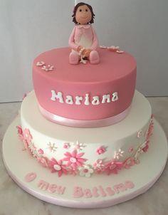 Batizado Menina Flores Rosa Bolo Cake Cakedesign